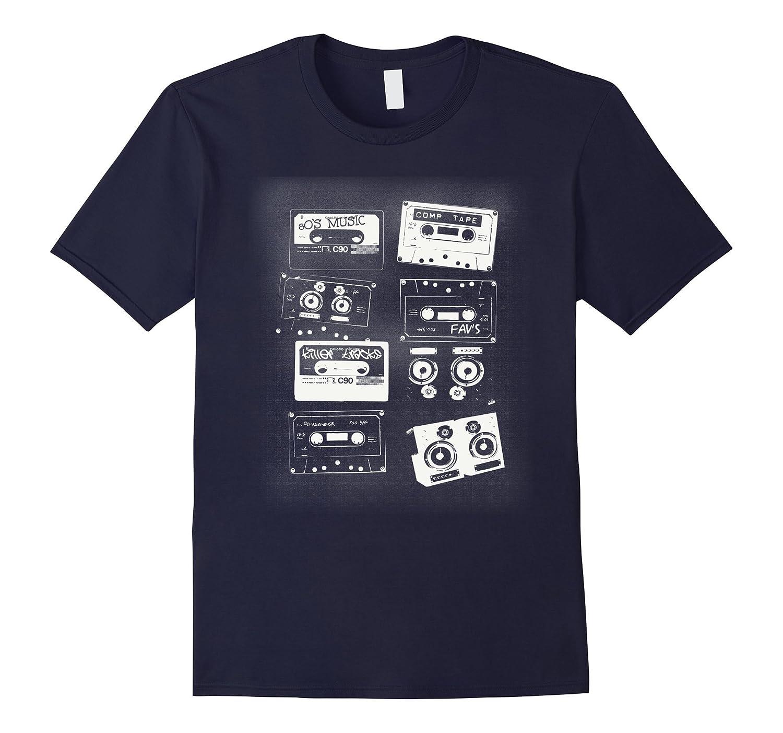 80's TAPE CASSETTES - retro - vintage - stereo music T-shirt-4LVS