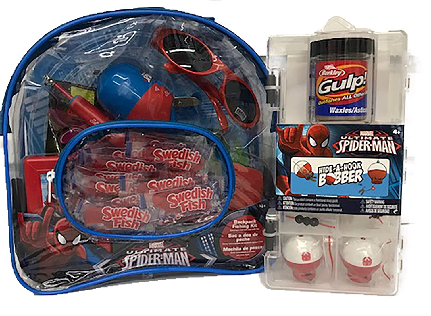 Marvel Spiderman Youth Fishing Backpack Combo Set with Hide-A-Hook Bobber Kit, Black Forest Gummy Worms, Trolli Watermelon Gummy Sharks and Swedish Fish for ...