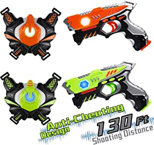 HISTOYE Lazer Laser Tag for Kids Adults Laser Tag Sets with Gun and Vest Laser Guns Toys for 5 6 7 8 9 10 11+ Year Old Boys Girls Age up Party 2 Multiplayers Indoor Outdoor Blaster Battle Games