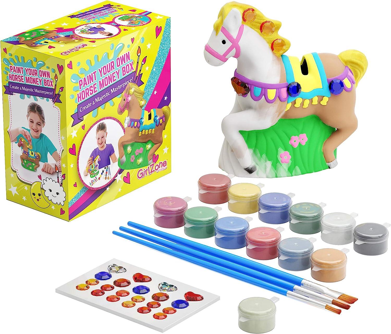 GirlZone Regalos para Niñas - Hucha Caballo para Pintar - Kit Pintura para Niñas y Accesorios Infantiles -Pinceles, Colores y Gemas - Regalo Original Cumpleaños y Fiestas