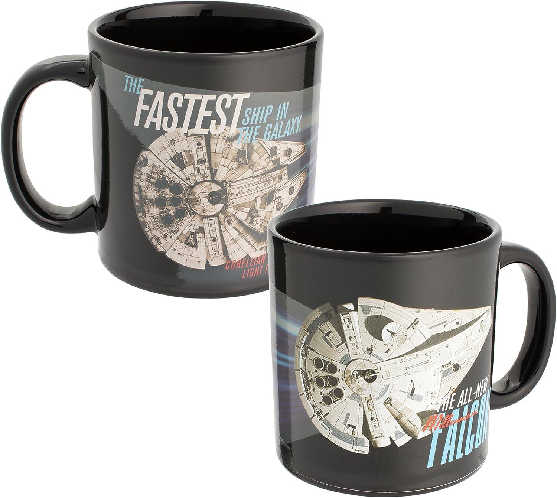 Vandor Star Wars Hans Solo Millennium Falcon Heat Reactive Color Changing Soup Coffee Mug Cup, 20 Ounce