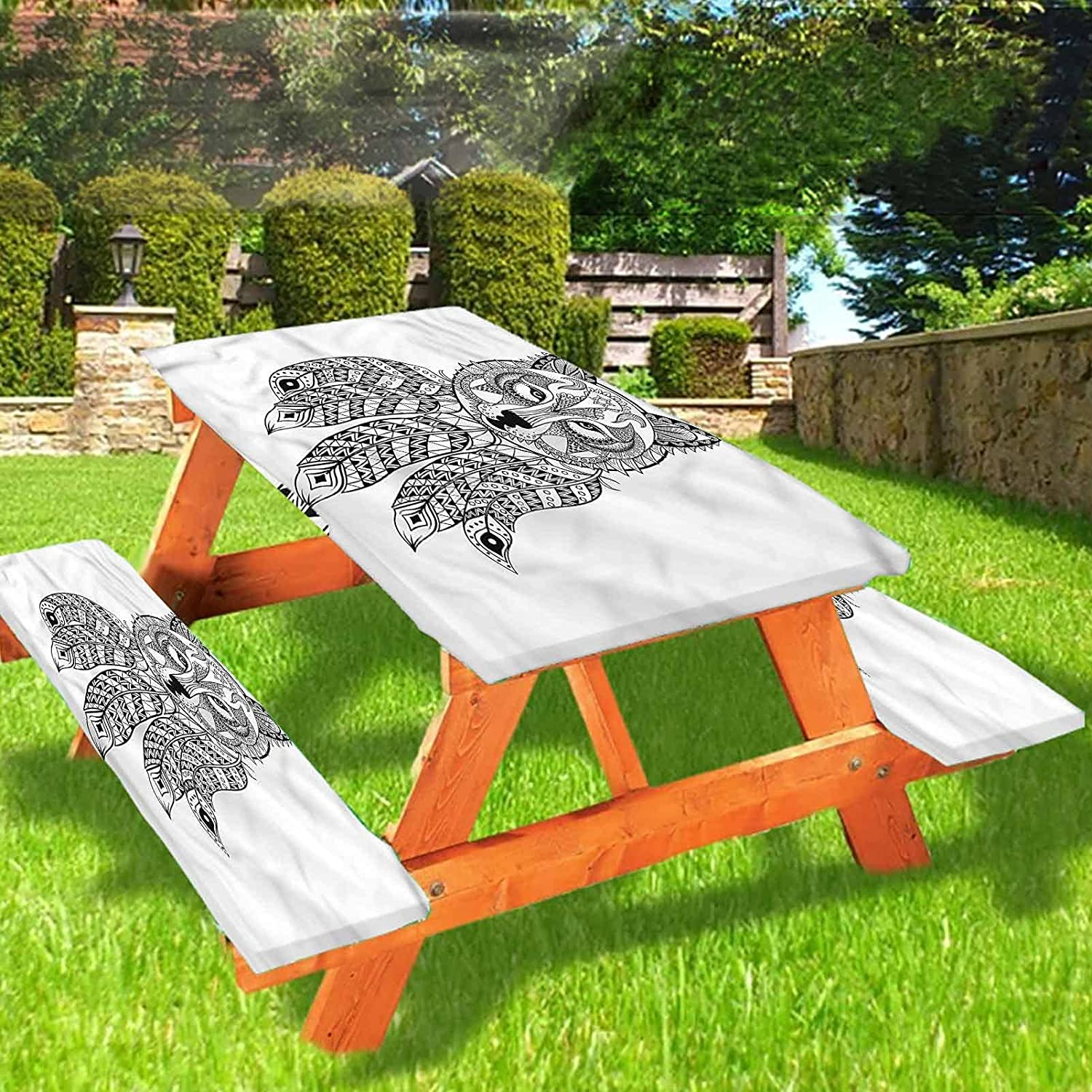 Lyzelre Tribal Picnic Table and Bench Fitted Tablecloth Cover,Native America Wolf Head Elastic Edge Fitted Tablecloth,28 x 72 Inch, 3-Piece Set for Camping, Dining, Outdoor, Park, Patio