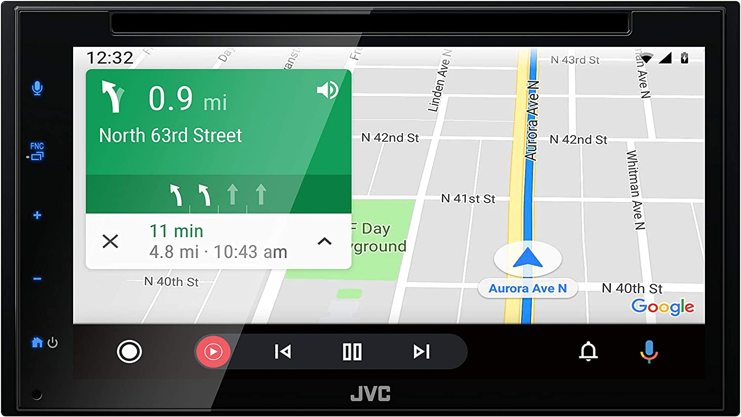 "JVC KW-V66BT Bluetooth Car Stereo Receiver with USB Port – 6.8"" Touchscreen Display - AM/FM Radio - MP3, CD and DVD Player - Double DIN – SiriusXM - with Apple CarPlay and Android Auto (Black)"