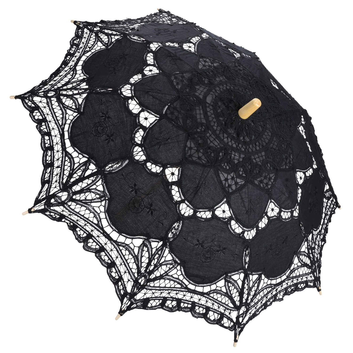 Outgeek Lace Umbrella, Auto Open Retro Embroidered Parasol Wedding Accessories for Bridal (Black)