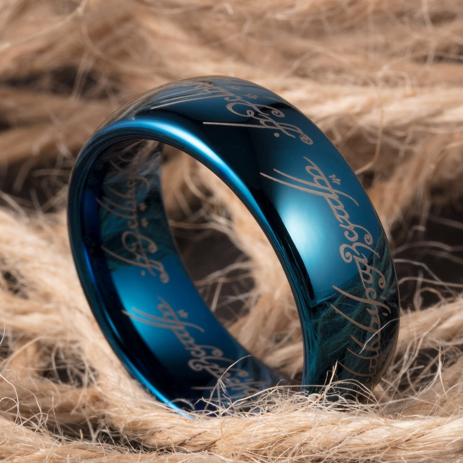 Tusen Jewelry 8mm Blue Plated Lord of the Rings Tungsten Ring