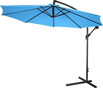 Lovely 10u0027 Deluxe Polyester Offset Patio Umbrella By Trademark Innovations (Teal