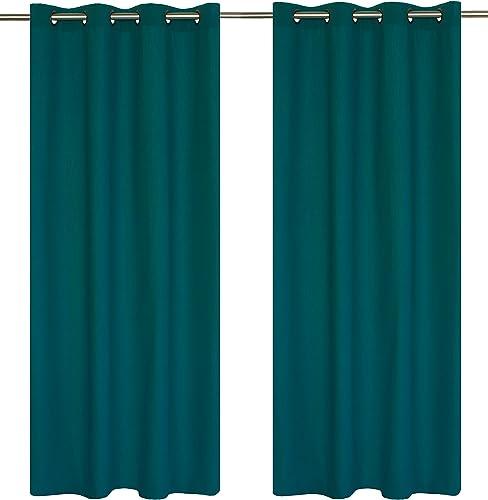 LJ Home Fashions Karma Cotton Like Grommet Curtain Panels Set of 2 54×95-in, Ocean Blue