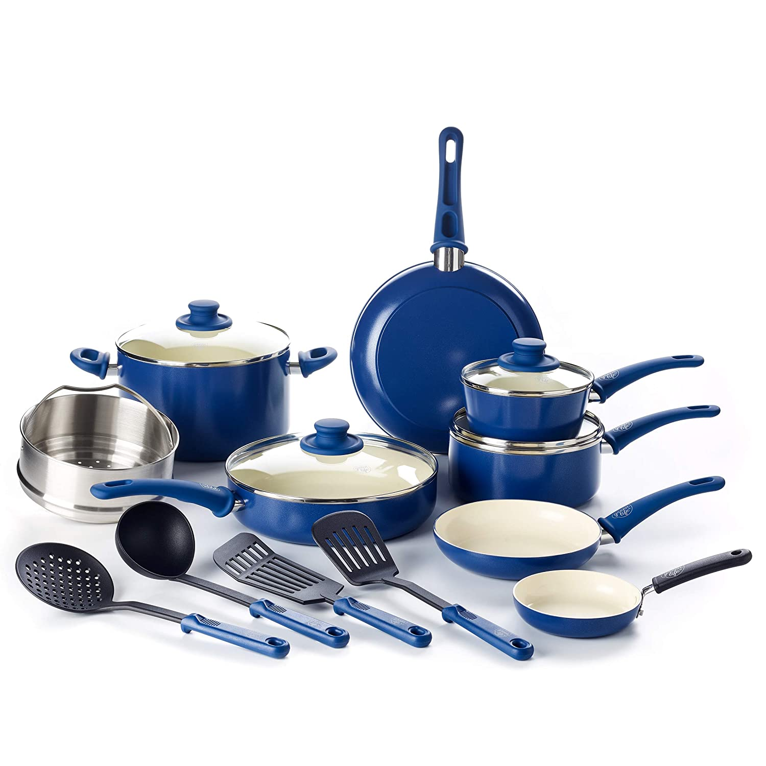 GreenLife CC002378-001 Soft Grip 16 Piece Ceramic Non-Stick Cookware Set, Blue
