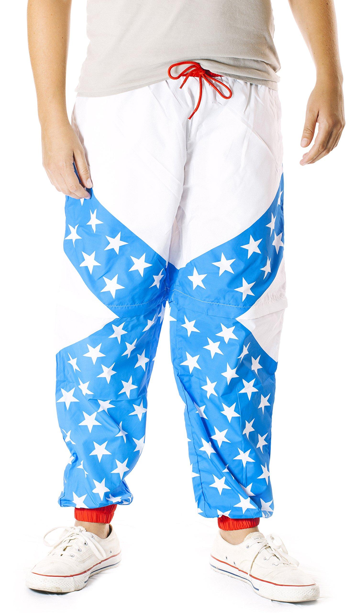 Funny Guy Mugs USA 80s & 90s Retro Windbreaker Pants, Large