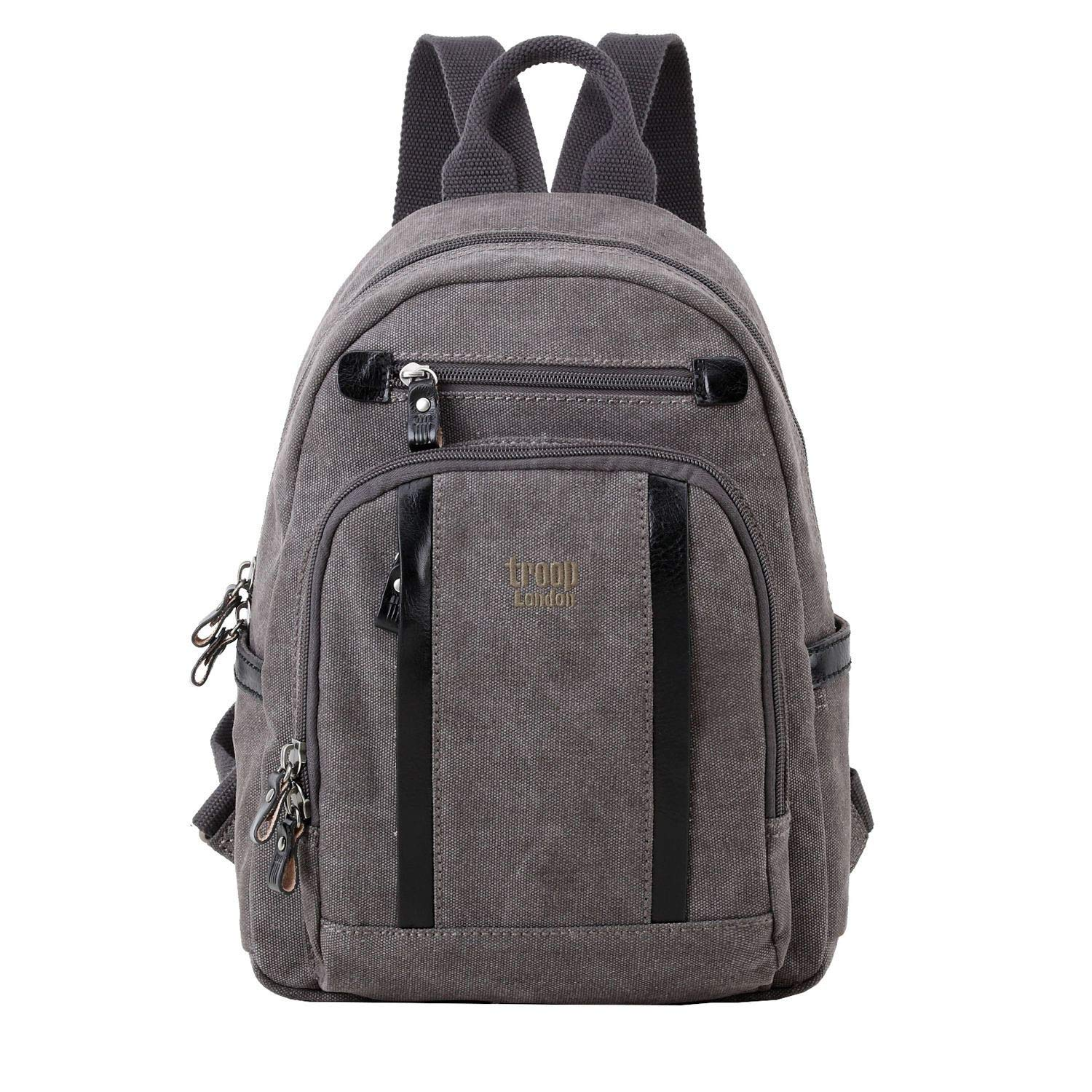 Medium TRP0256 />H41 W29 D17cm Troop London Classic Canvas Leather Backpack