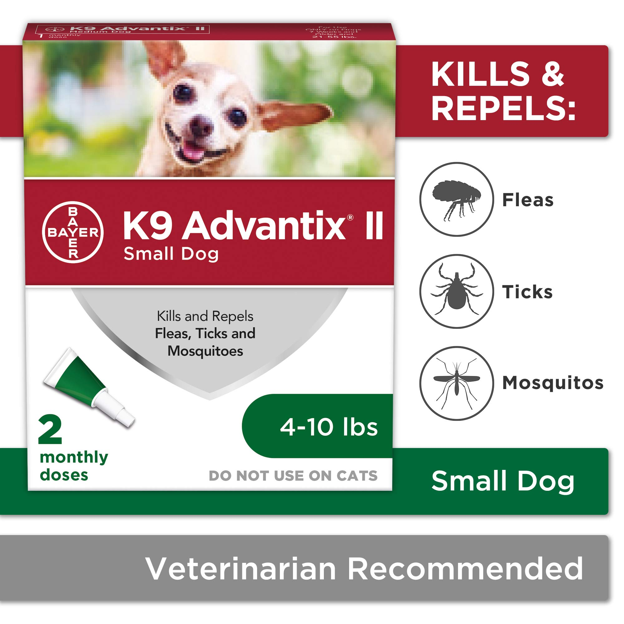 Bayer K9 Advantix II Flea, Tick and Mosquito Prevention for Small Dogs, 4 - 10 lb, 2 doses by Bayer Animal Health