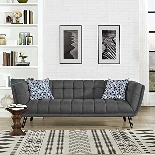 Modway Bestow Upholstered Fabric Button-Tufted Sofa In Gray