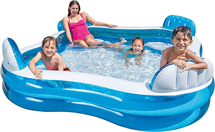 Intex 56475NP - Piscina hinchable cuadrada con asientos 229 x 66 cm 990 litros: Amazon.es: Jardín