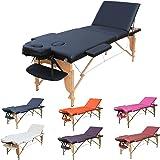 H-ROOT 3 Sezione Tavolo da Massaggio Leggera Large Deluxe Lettino da Massaggio Portatile Terapia Tatoo Salon Reiki Healing Massaggio Svedese 15KG con Sacchetto di Trasporto (Nero)