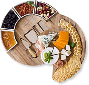 Cheese Cutting Board Set - Charcuterie Board Set and Cheese Serving Platter. 13 inch Meat/Cheese Board and Knife Set for Entertaining and Serving - 4 Knives and 4 Bowls Server Plate - Patent Pending