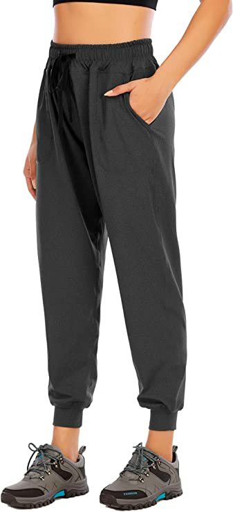 Yaluntalun Women's Jagger Pants Tapered Running Pants Active Sweatpants Drawstring Striped Trousers with Pockets