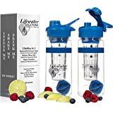 Lifewater Solutions Fruit Infuser Water Bottle with Hydration Tracking Time Marker and Shaker Blender Ball, BPA Free, Flip Top Lid and No-Slip Grip Ring, 32 oz / 1 Liter, Motivational