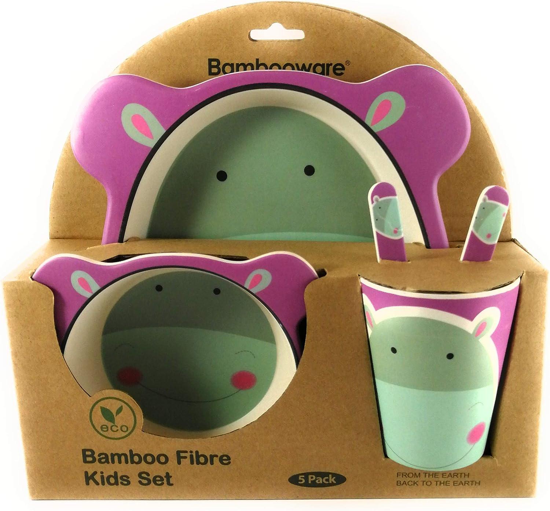 profesional Set vajilla Infantil de Fibra de Bambu 5 pcs Material ecologico y sin BPA hipopotamo