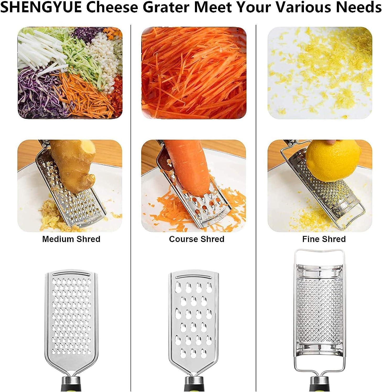 Reibe-Set mit 3 K/üchenk/äsereibe und Zitronenschaber Obst und Gem/üse mit gro/ßem weichem TPR-Griff scharfe Edelstahlklinge leicht zu reiben oder zu sch/älen K/äse Ingwer Butter Schokolade N/üsse
