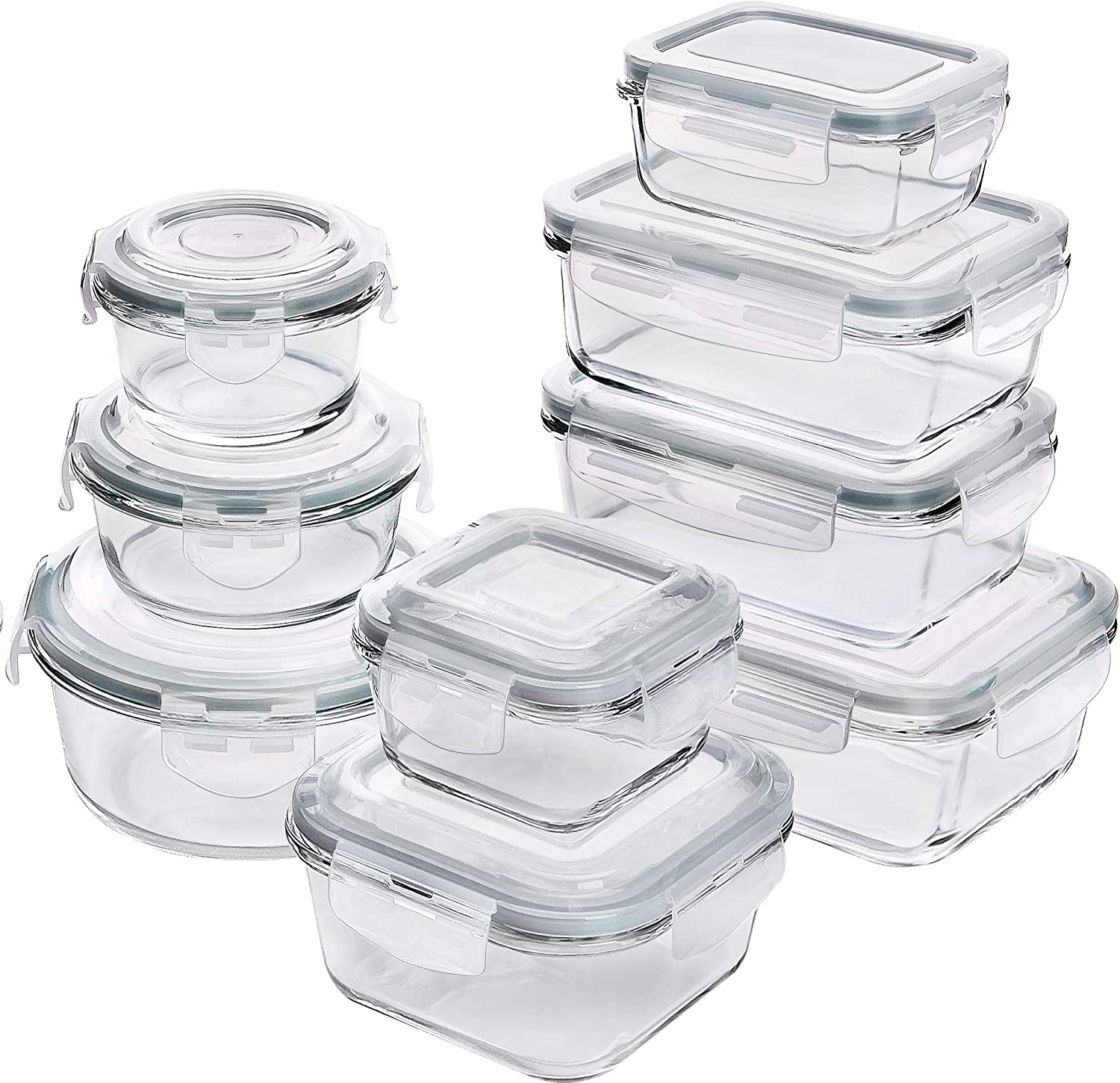 Utopia Kitchen Glass Food Storage Container Set - 18 Pieces (9 Containers and 9 Lids) - Transparent Lids - BPA Free (Grey)