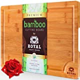 Amazon Price History for:EXTRA LARGE Organic Bamboo Cutting Board with Juice Groove - Best Kitchen Chopping Board for Meat (Butcher Block) Cheese and Vegetables | Anti Microbial Heavy Duty Serving Tray w/ Handles - 18 x 12