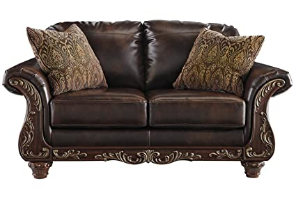 Remarkable Amazon Com Ashley Vanceton Leather Loveseat In Antique Bralicious Painted Fabric Chair Ideas Braliciousco