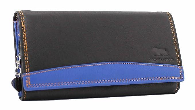 MORUCHA - Cartera para mujer de Piel Mujer negro Negro/Azul Large: Amazon.es: Ropa y accesorios