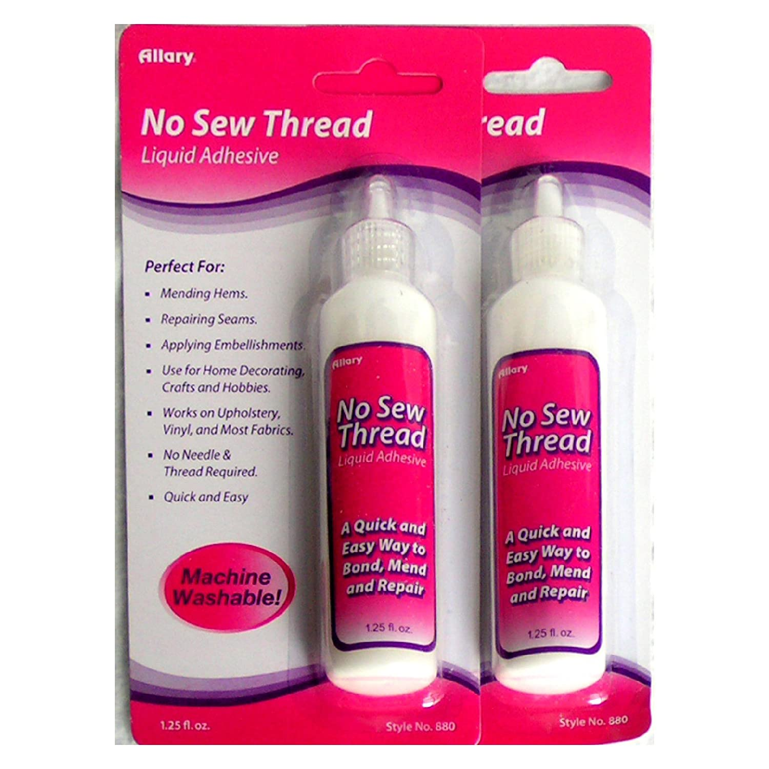 Allary No Sew Thread Machine Washable Liquid Fabric Adhesive (1.25 oz) - Multipack of 2 Tubes Allary Corp VB-202