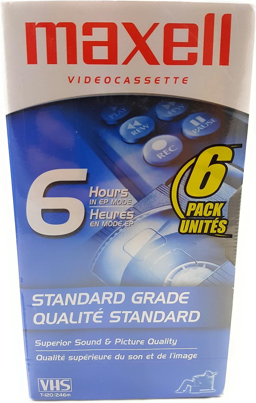 Maxell STD T-120 VHS Standard Grade Videotape, 6 Pack