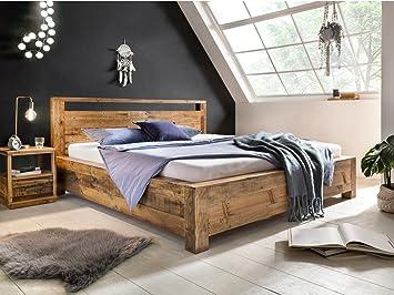 Woodkings Bett 180x200 Havelock Doppelbett Recycelte Pinie Rustikal  Schlafzimmer Massivholz Design Ehebett Balkenbett Massive Naturmöbel  Echtholzmöbel