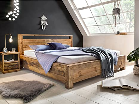 Woodkings Bett 180x200 Havelock Doppelbett recycelte Pinie rustikal  Schlafzimmer Massivholz Design Ehebett Balkenbett Massive Naturmöbel  Echtholzmöbel ...