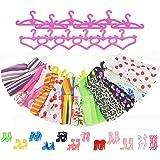 ASIV 12 Dresses, 12 Paris of Shoes, 12 Hangers Accessories for Barbie Dolls for Girls (36 Pieces)