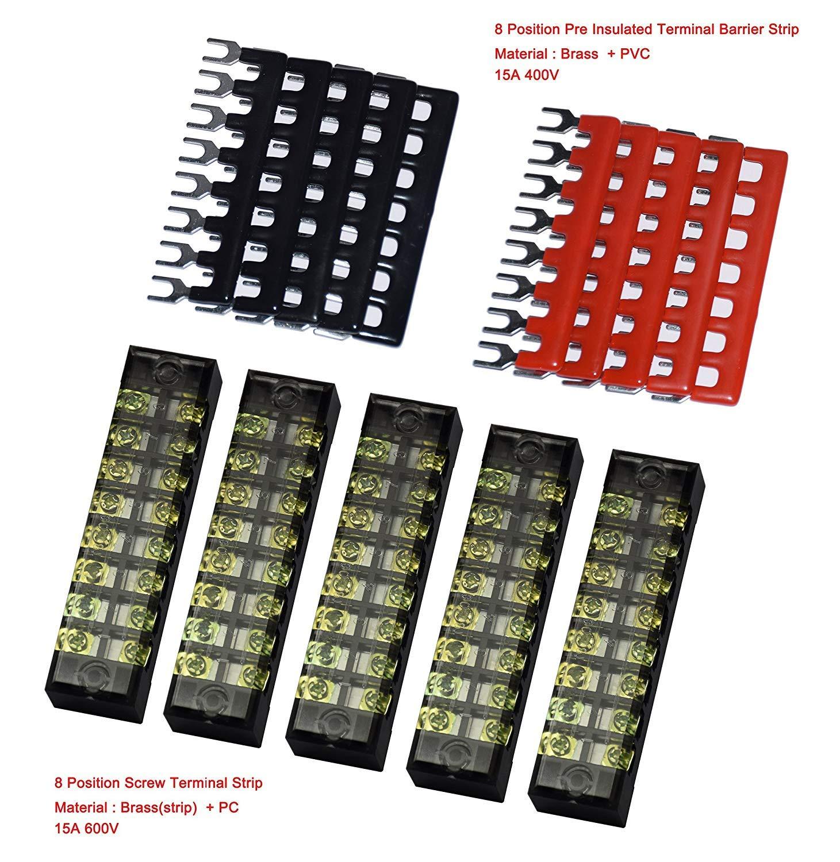5 Pcs Dual Row 8 Position Screw Terminal Strip 600V 15A 400V 15A 8 Postions Pre Insulated Terminal Barrier Strip Red//Black 10 Pcs Cofufu B1508-5