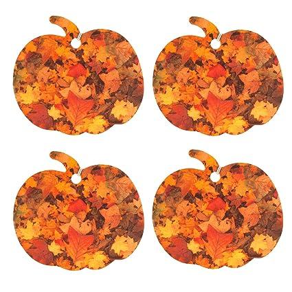 Eclectic Lady Conjunto de cuatro ambientadores con forma de calabaza con motivo de hojas de otoño