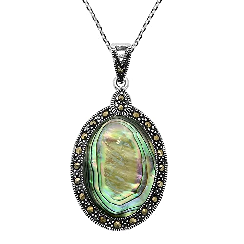 AeraVida Vintage Inspired Oval Abalone Shell Marcasite Style Pyrite Frame .925 Sterling Silver Pendant Necklace