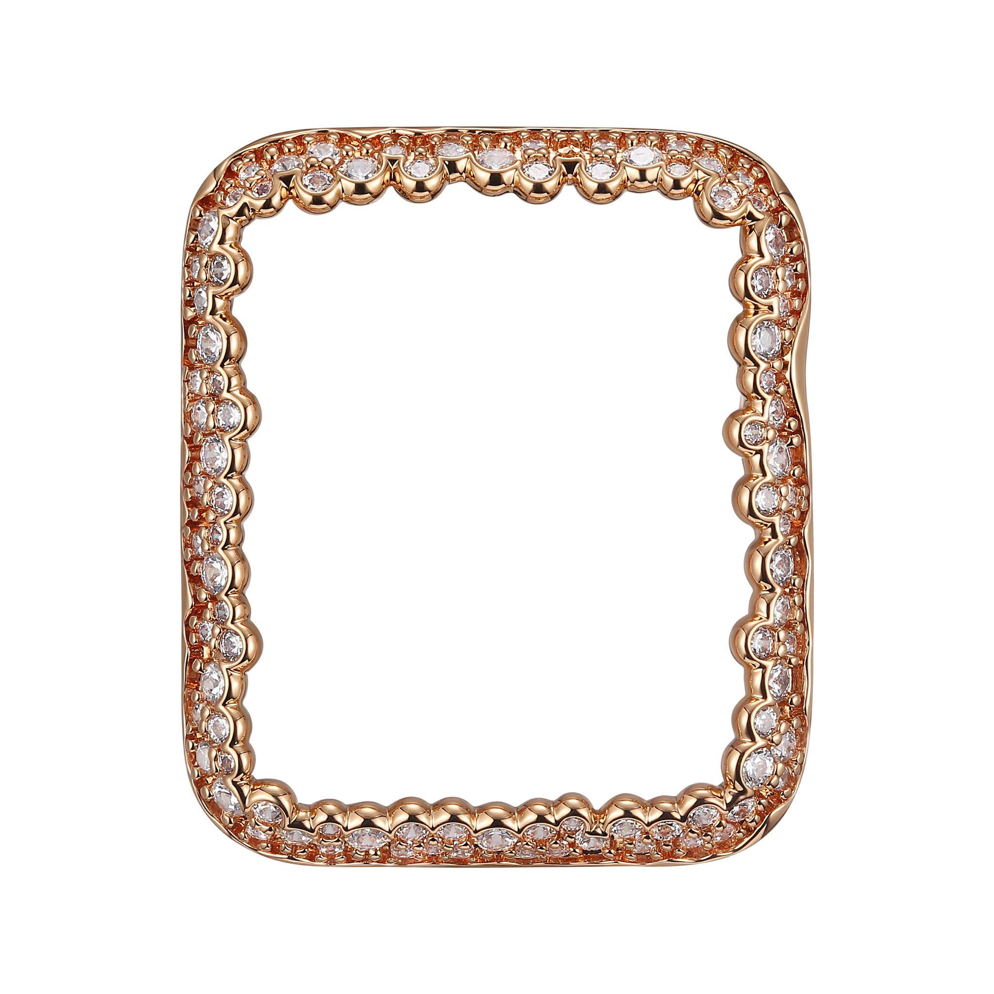 14K Rose Gold Plated Champagne Bubbles Jewelry-Style Apple Watch Case with Swarovski Zirconia CZ Border - Small (Fits 38mm iWatch)
