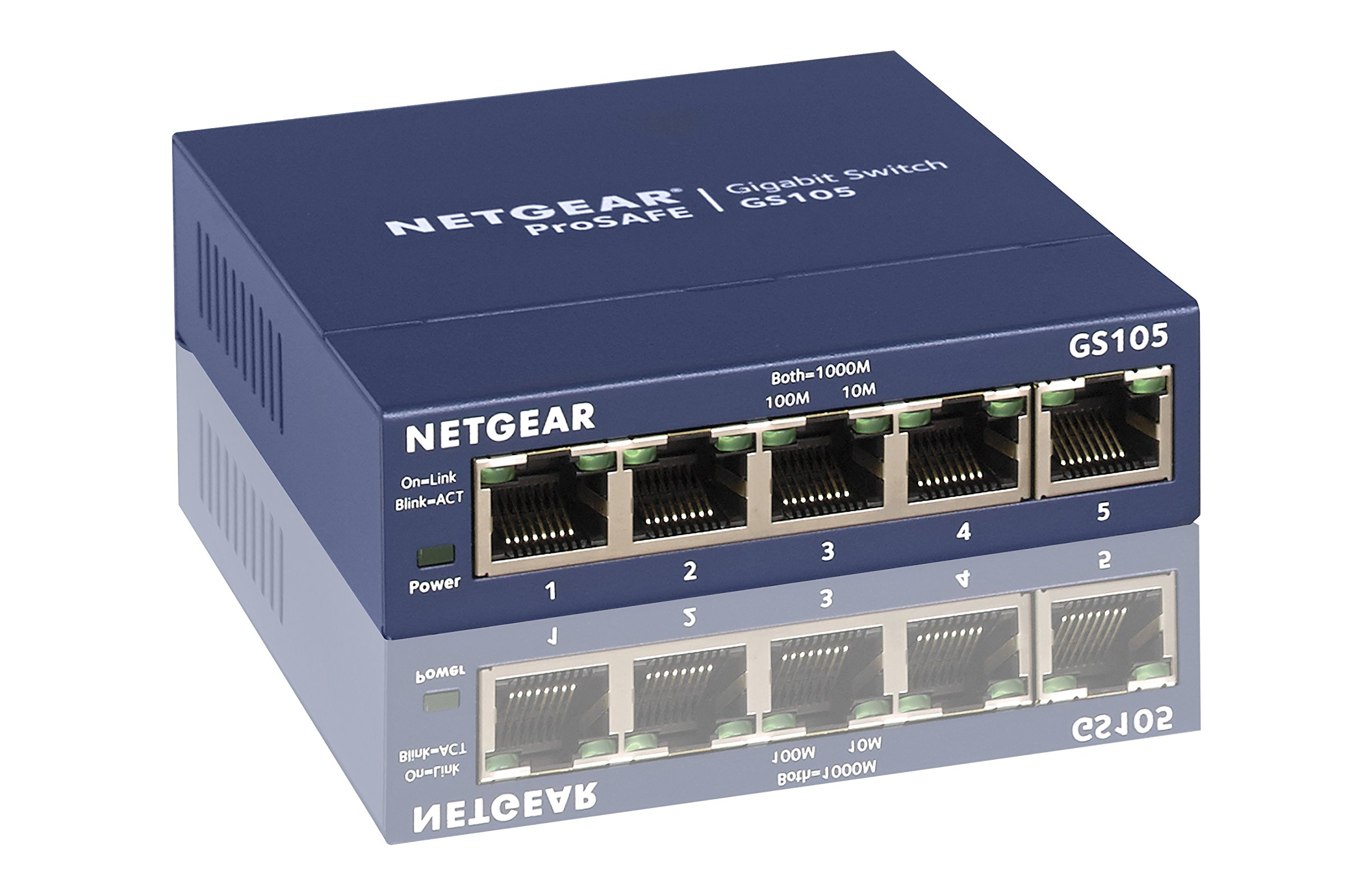 NETGEAR 5-Port Gigabit Ethernet Unmanaged Switch, Sturdy Metal, Desktop, Plug-and-Play, ProSAFE Lifetime Protection (GS105NA)