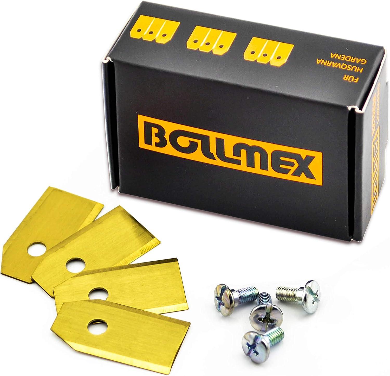 30 cuchillas de titanio Bollmex de 0,75 mm con 30 tornillos, cuchillas de repuesto compatibles con cortacésped Husqvarna Automower Gardena cortacésped 105 310 315 320 420 430x r40i (duraderas)