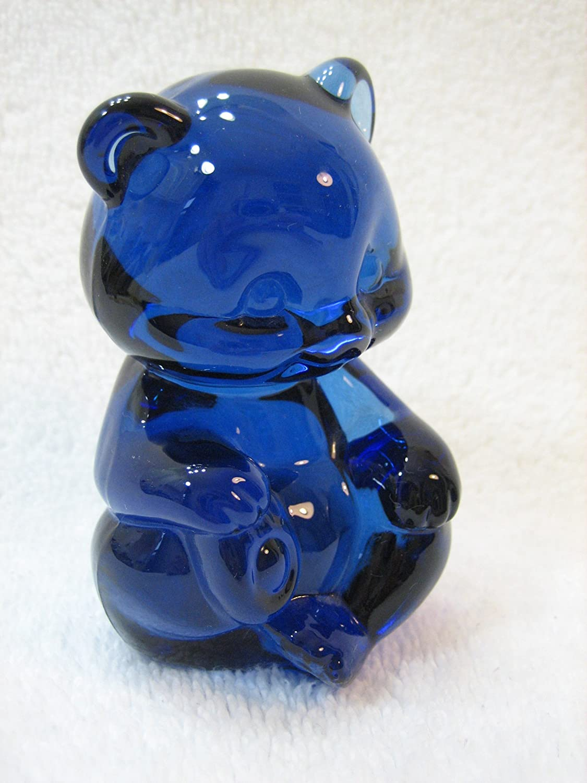 Art Glass Cute Adorable Blue Crystal Teddy Bear VINTAGE Vtg Fenton Fenton Light Blue Glass Bear Collectible Figurine Paperweight