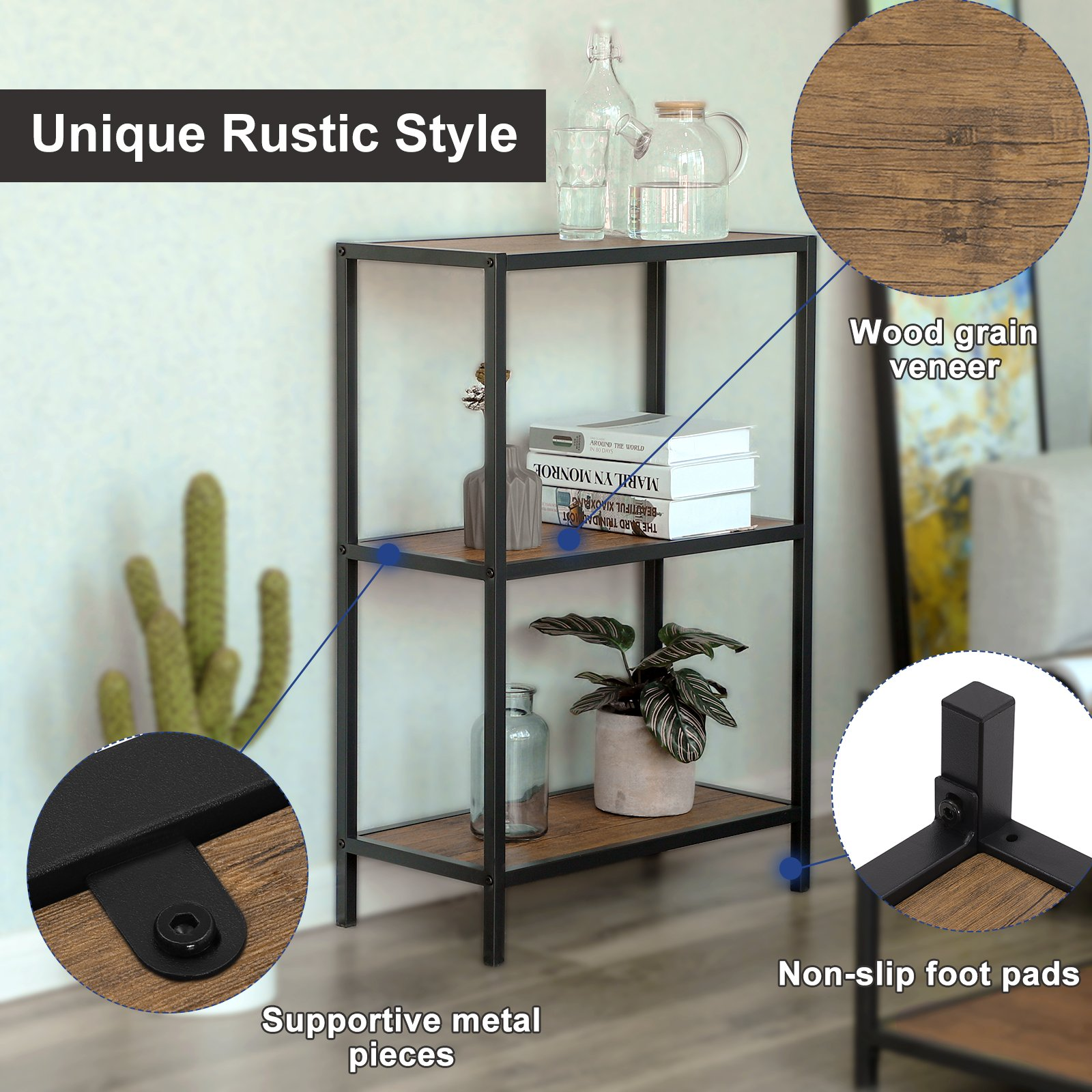 SONGMICS 3-Tier Storage Shelf Rack, Multifunctional Bookcase, Metal Frame Display Rack,Shelving Unit for Kitchen, Living Room,Rustic, ULSS90BX by SONGMICS (Image #5)