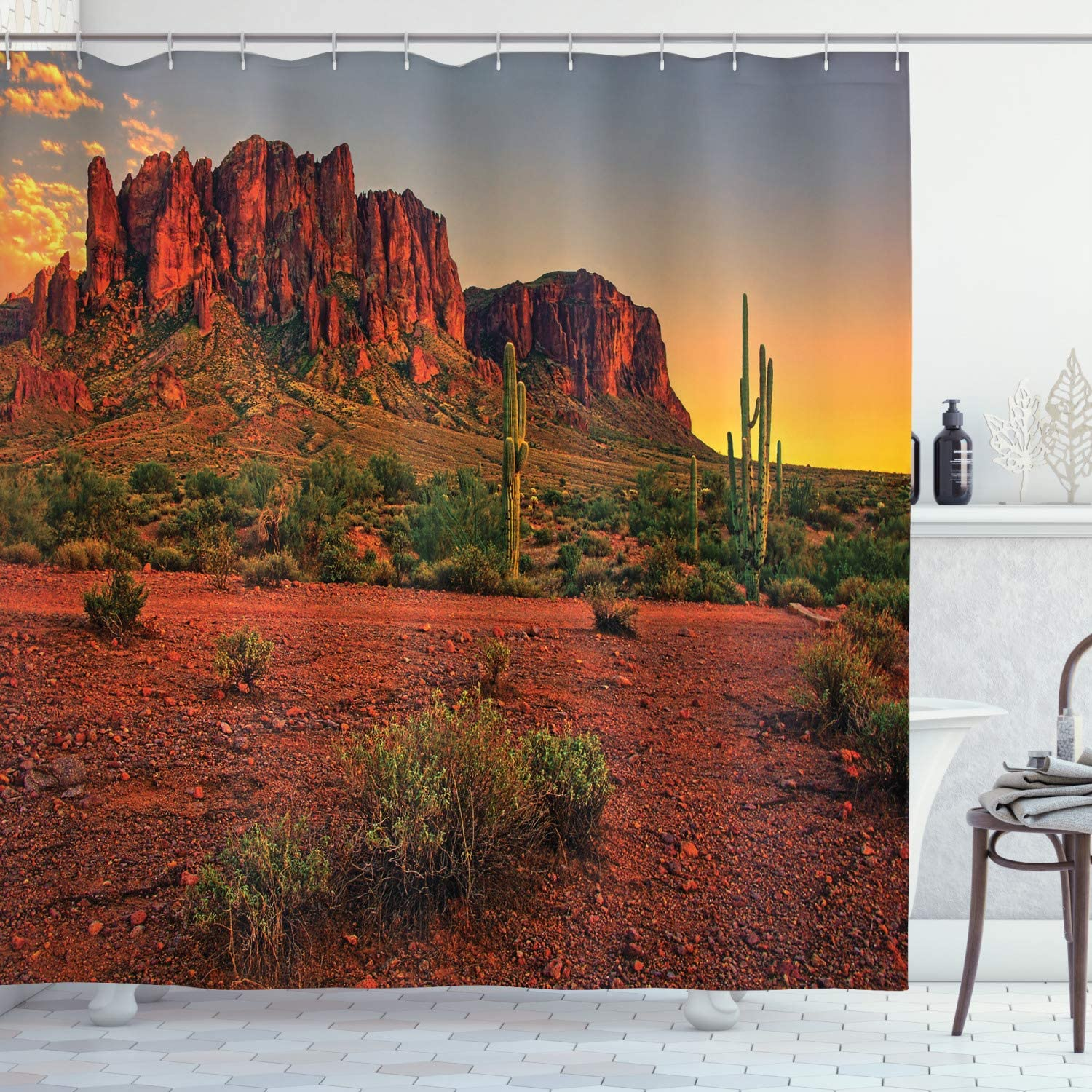 """Ambesonne Saguaro Shower Curtain, Colorful Sunset View of The Desert and Mountains Near Phoenix Arizona USA, Cloth Fabric Bathroom Decor Set with Hooks, 75"""" Long, Yellow Green"""