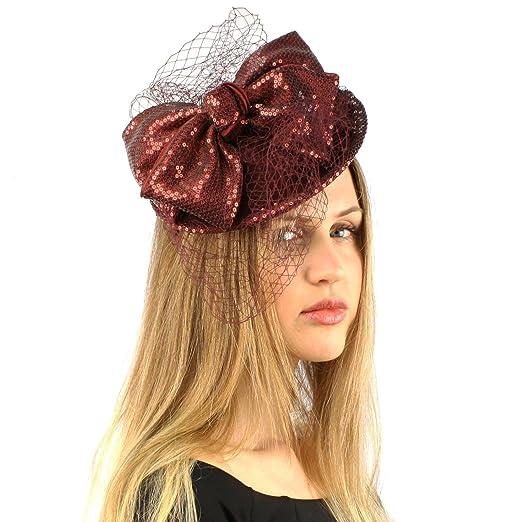 Fancy Wool Ribbon Bow Sequins Disc Veil Headband Fascinator Cocktail Hat Dk  Wine 1ddc307de2f