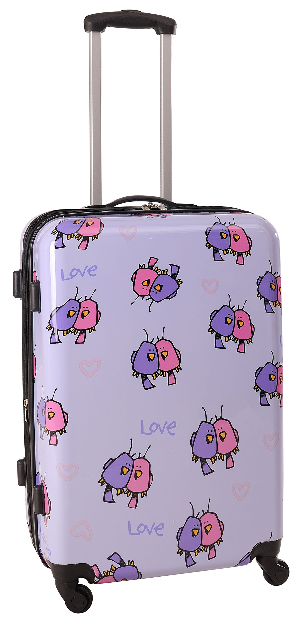 Ed Heck Multi Love Birds Hardside Spinner Luggage 25 Inch, Light Purple, One Size
