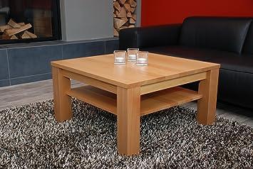 Couchtisch 60x60 Cm Mit Ablage Buche Echtholz Massivholz Hhe 42 Amazonde Kche Haushalt