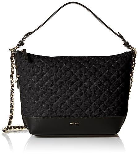 fc8099776218 Amazon.com: Nine West Elinora Chain Hobo Bag, Black: Clothing