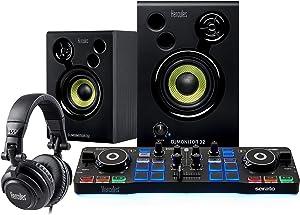 Hercules DJ Starter Kit | Starlight USB DJ Controller with Serato DJ Lite software, 15-Watt monitor speakers, and sound-isolating headphones