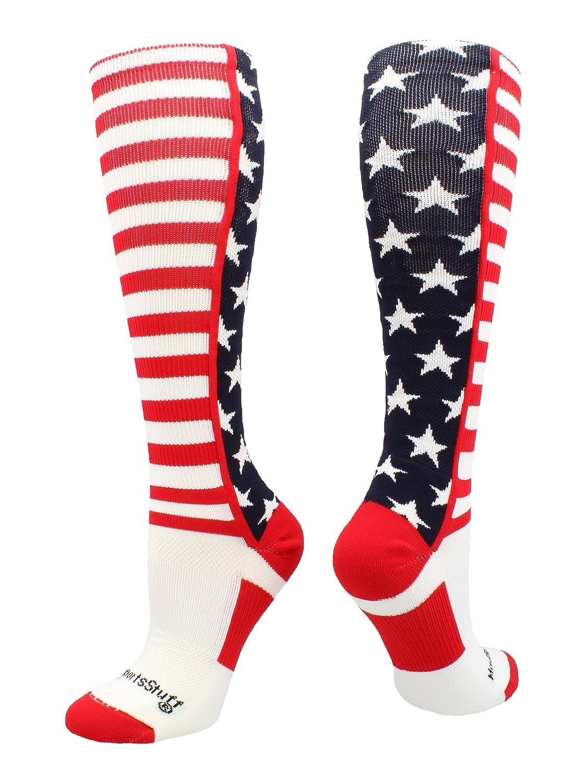 b2dd147f5 Amazon.com   MadSportsStuff USA American Flag Stars and Stripes Over The  Calf Socks   Sports   Outdoors