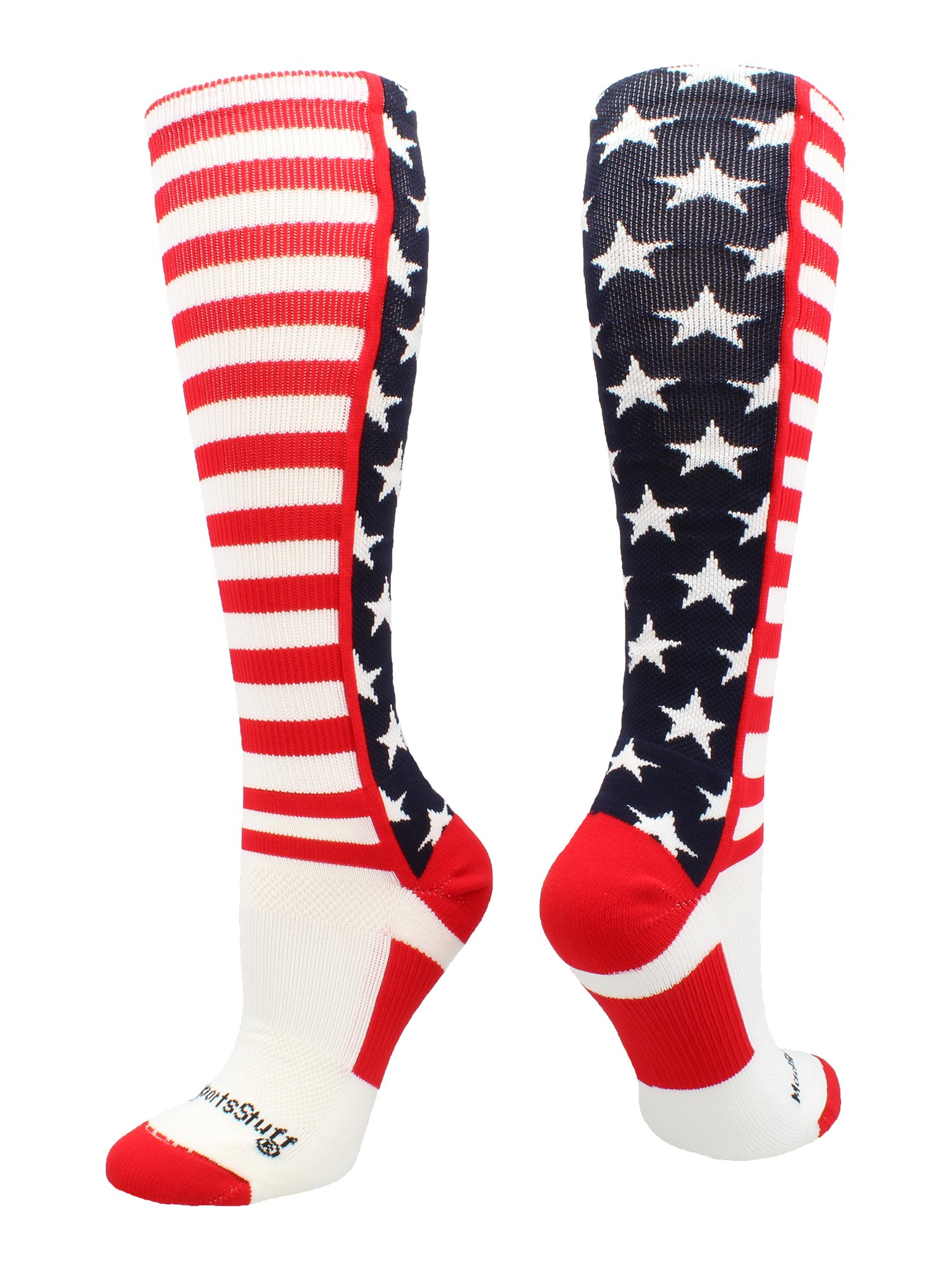 MadSportsStuff USA American Flag Stars and Stripes Over the Calf Socks (Navy/Red/White, Small)