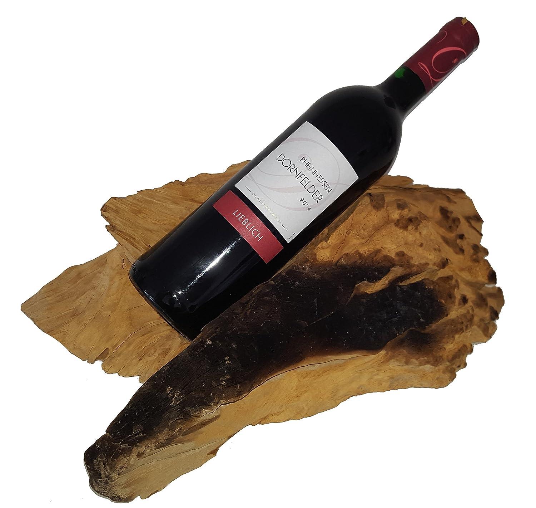 Weinflaschenhalter f. 1. Flasche liegend - Teakholz hell braun braun braun ca. 30-50x20-30x15 cm Holz Teak Flaschenständer optisch Treibholzurbeschaffenheit einzigartig in Maserung, Größe, Form, Farbe, bekannt als Wurzelholz Holzwurzel Flaschenwurzel  b70e94