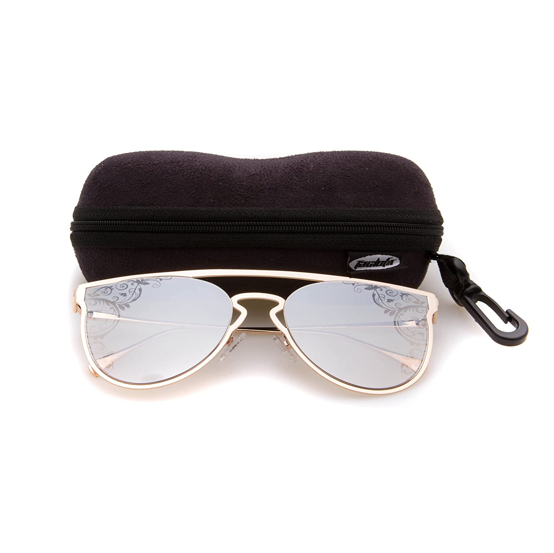 gold Tacloft Metal Sunglasses for Women Cateye Sun Glasses Non Polarized TL7004